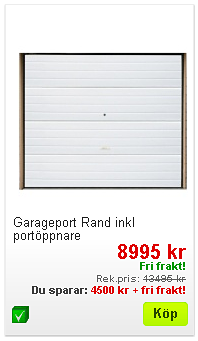 Billig garageport vit